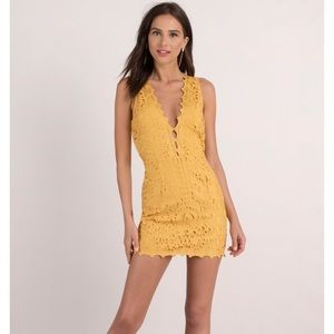 New in bag/tags YELLOW LACE UP BODYCON DRESS